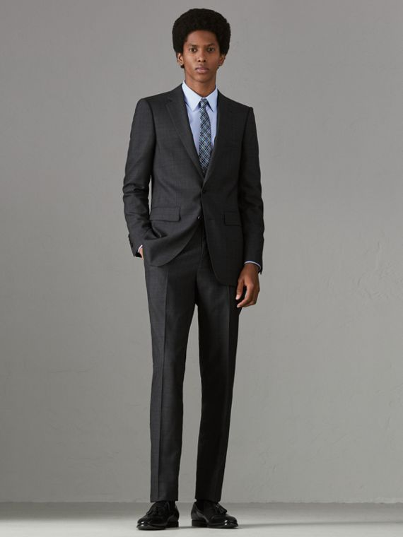 Slim Fit Prince of Wales Check Wool Silk Suit in Charcoal Melange