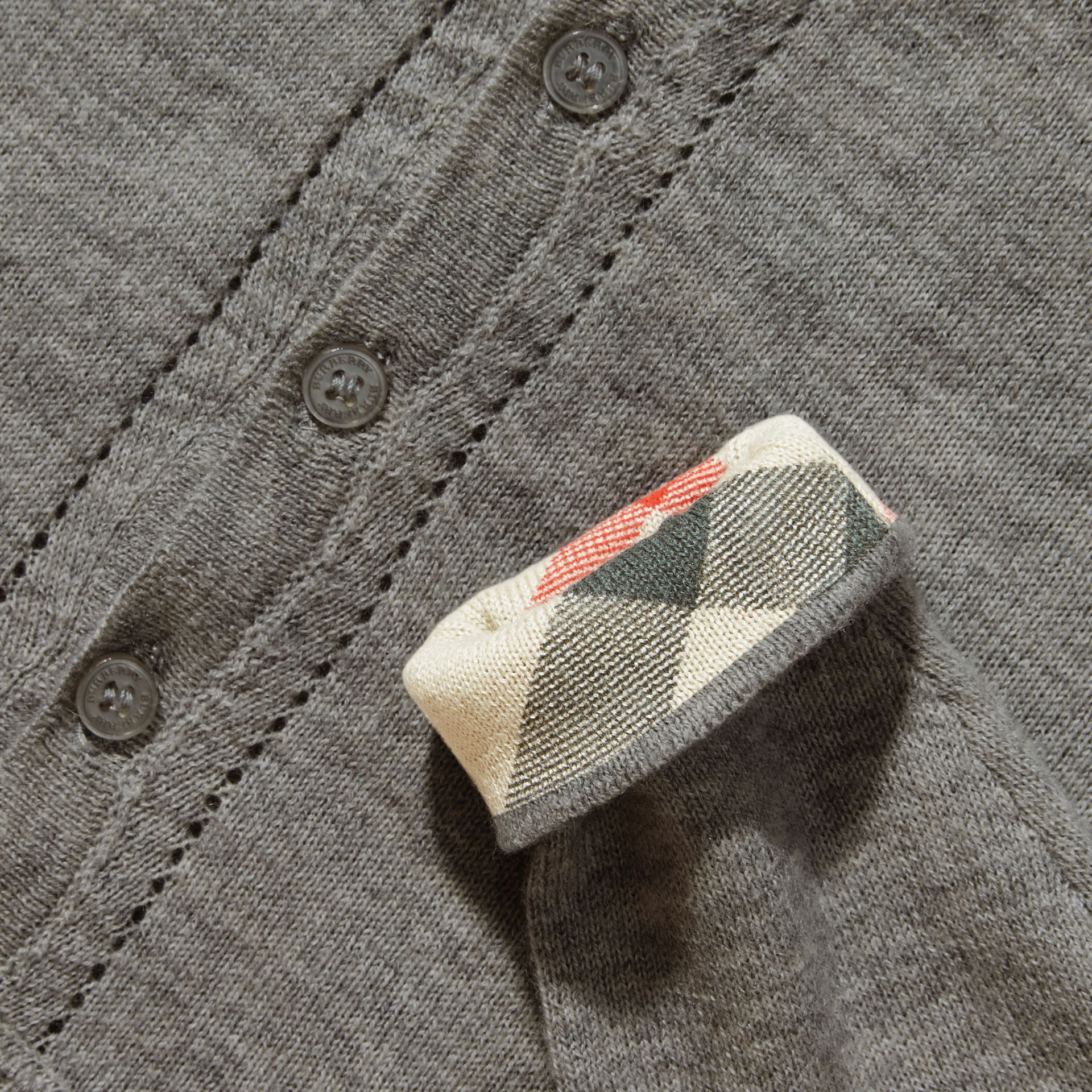 Check Cuff Cotton Cardigan in Pale Grey Melange - gallery image 2