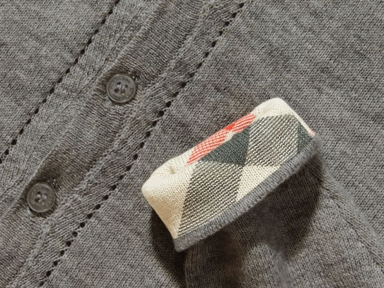 Check Cuff Cotton Cardigan in Pale Grey Melange - cell image 1