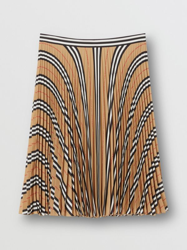 Logo and Stripe Print Crepe Pleated Skirt in Archive Beige - Women | Burberry Canada - cell image 3