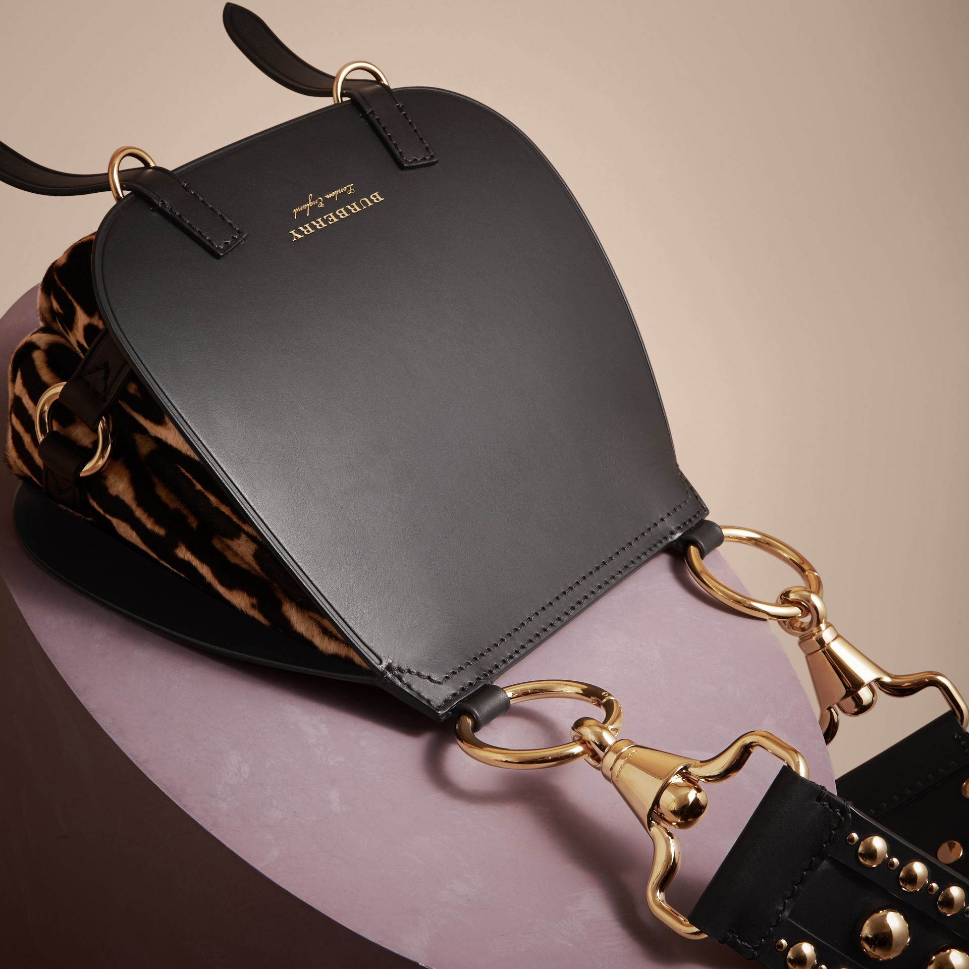 The Bridle Bag in Leather and Calfskin in Black - Women | Burberry - gallery image 7