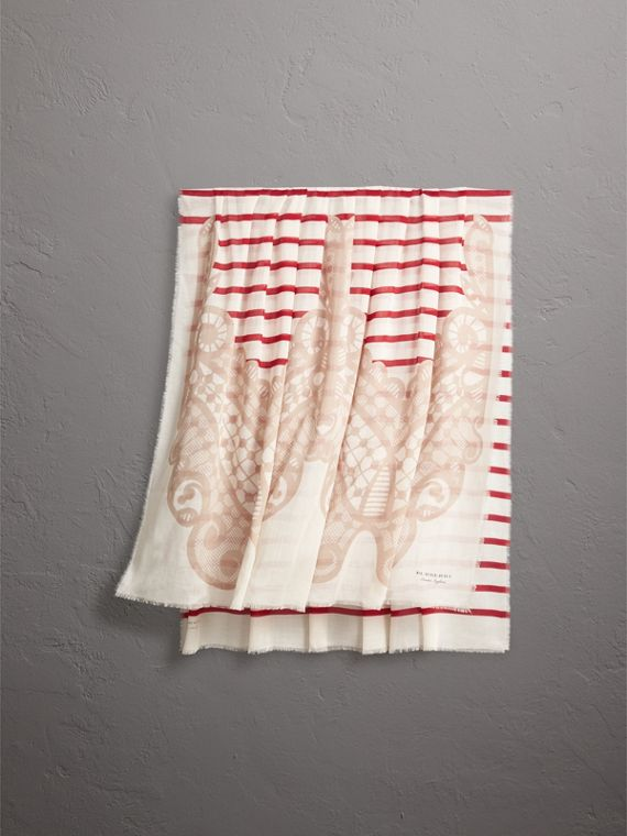 Lace and Breton Stripe Print Cashmere Silk Scarf in Natural White