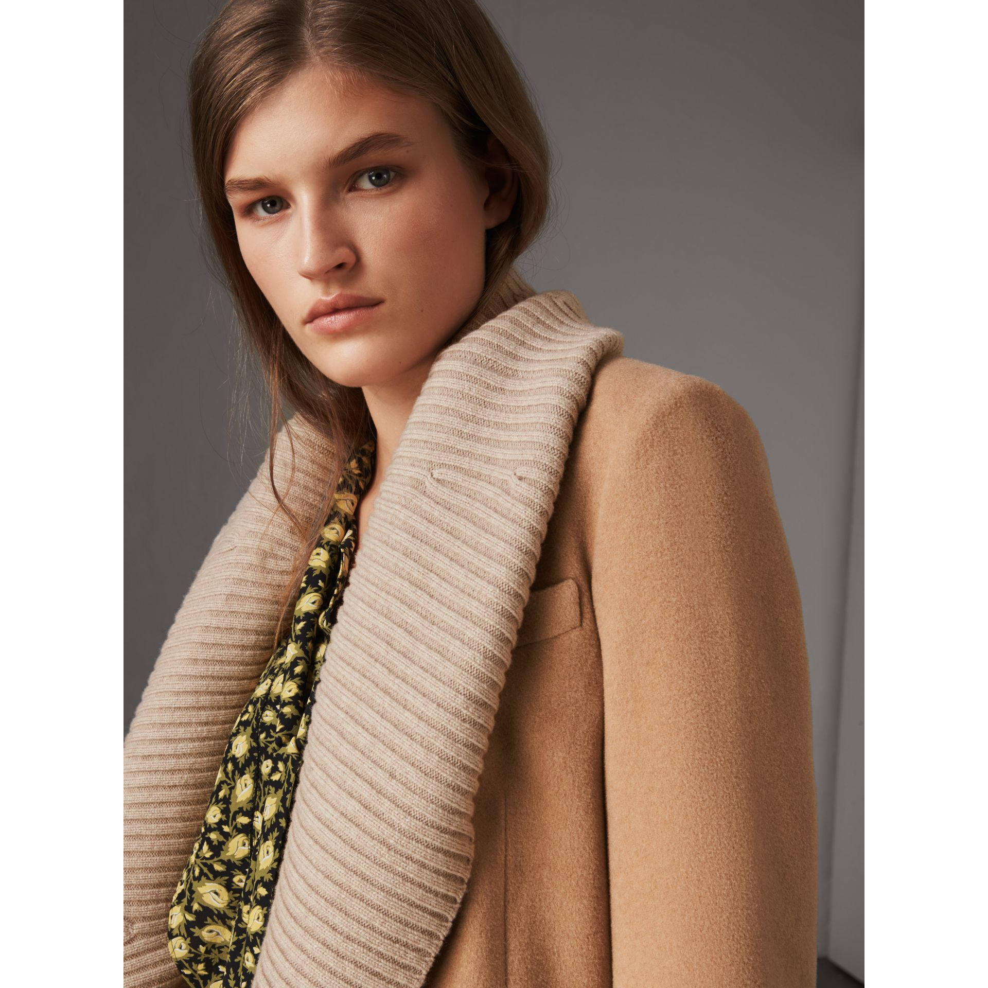 Detachable Rib Knit Collar Cashmere Coat in Camel - Women | Burberry - gallery image 1