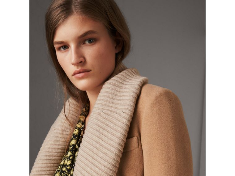 Detachable Rib Knit Collar Cashmere Coat in Camel - Women | Burberry Hong Kong - cell image 1