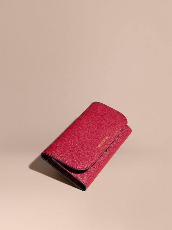 Leather Continental Wallet with Removable Coin Case in Parade Red