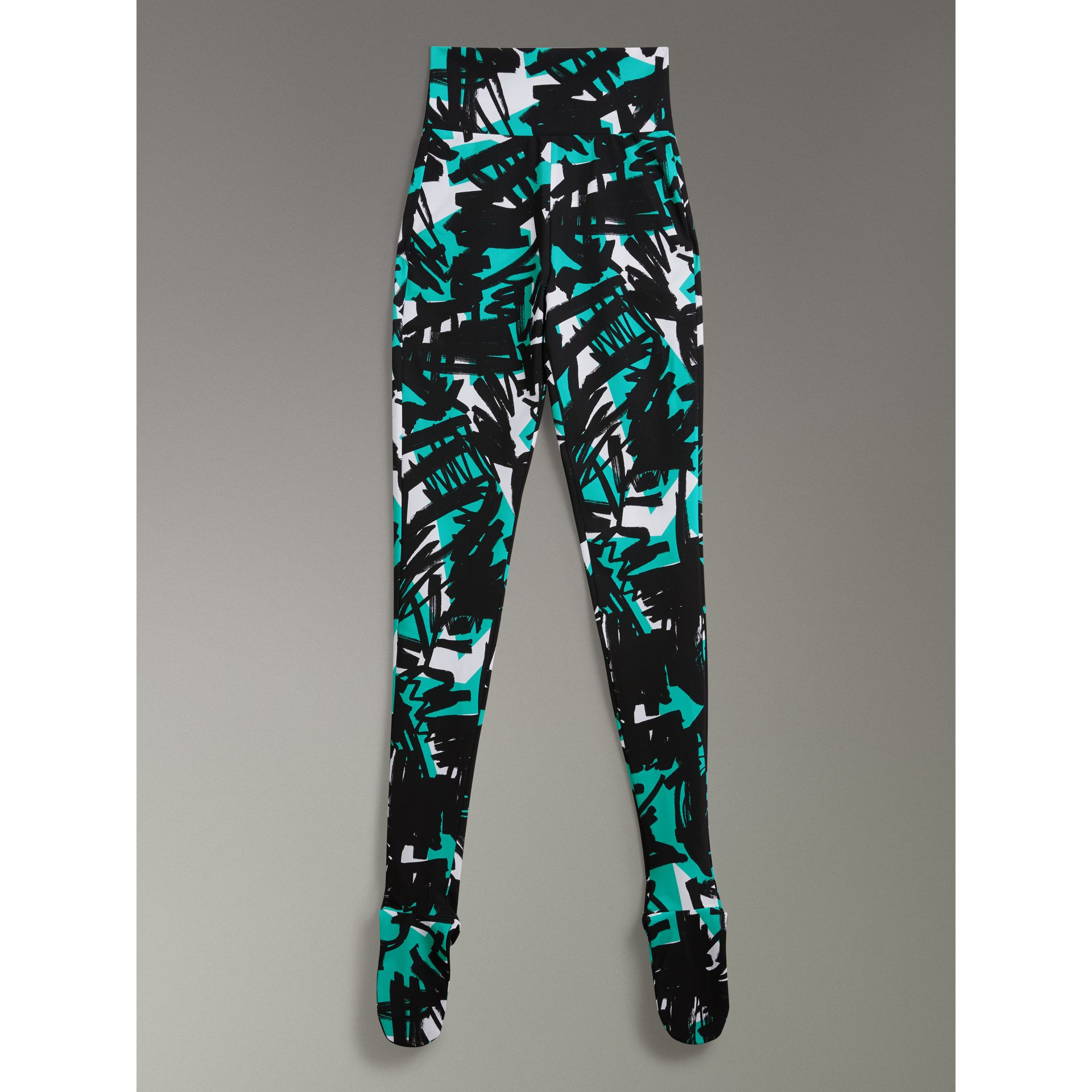 Graffiti Print Leggings in Turquoise - Women | Burberry - gallery image 3