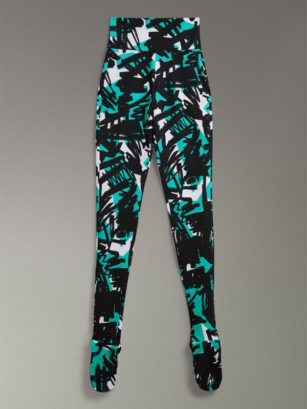 Graffiti Print Leggings in Turquoise - Women | Burberry Singapore - cell image 3