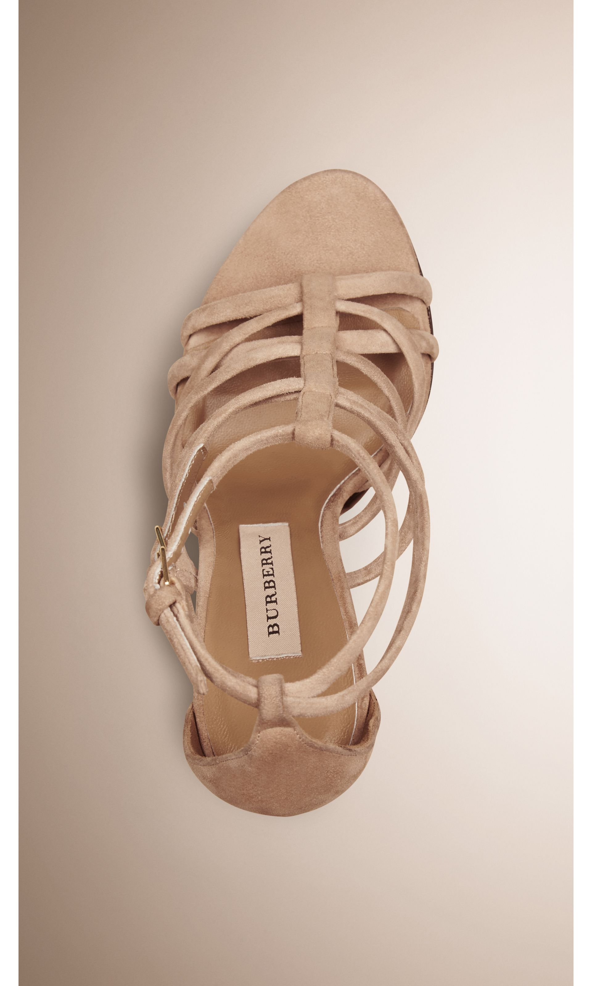 Multi-strap Suede Sandals in Honey - Women   Burberry United States - gallery image 2