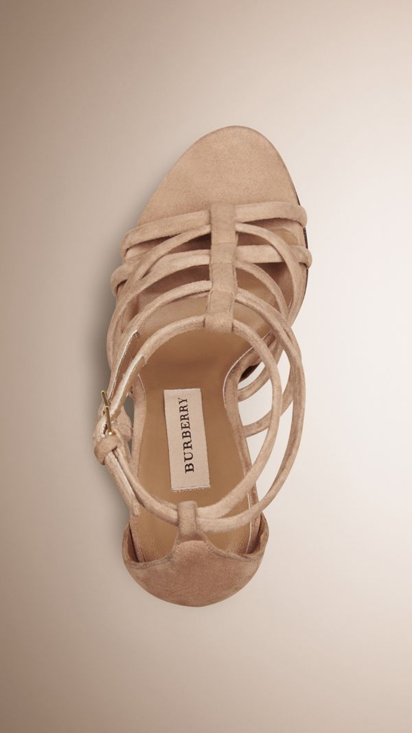 Multi-strap Suede Sandals in Honey - Women   Burberry United States - cell image 2