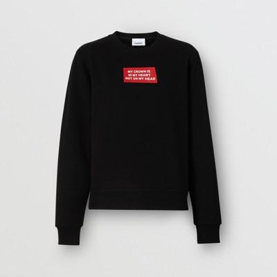 Shirt En Coton Avec Sweat CitationnoirFemmeBurberry vNwOm08n