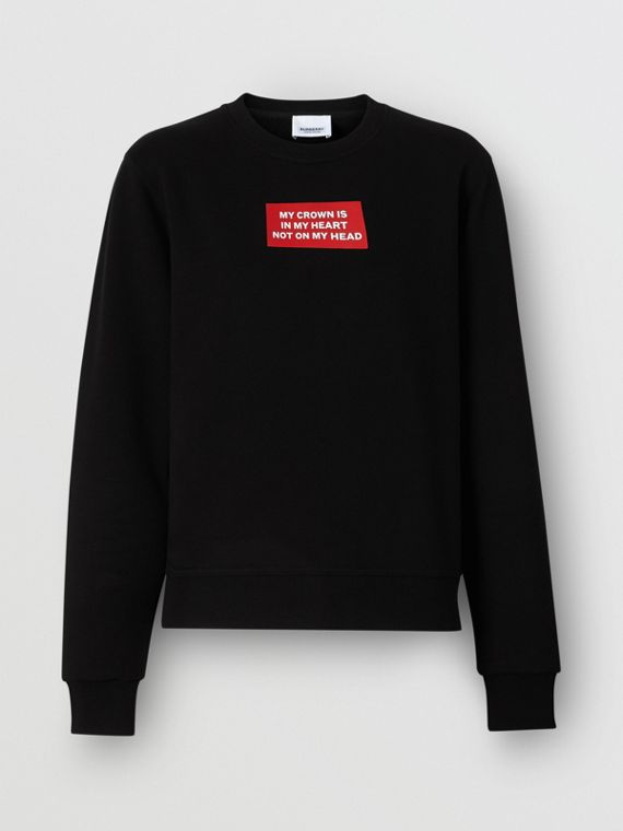 Quote Print Cotton Sweatshirt in Black