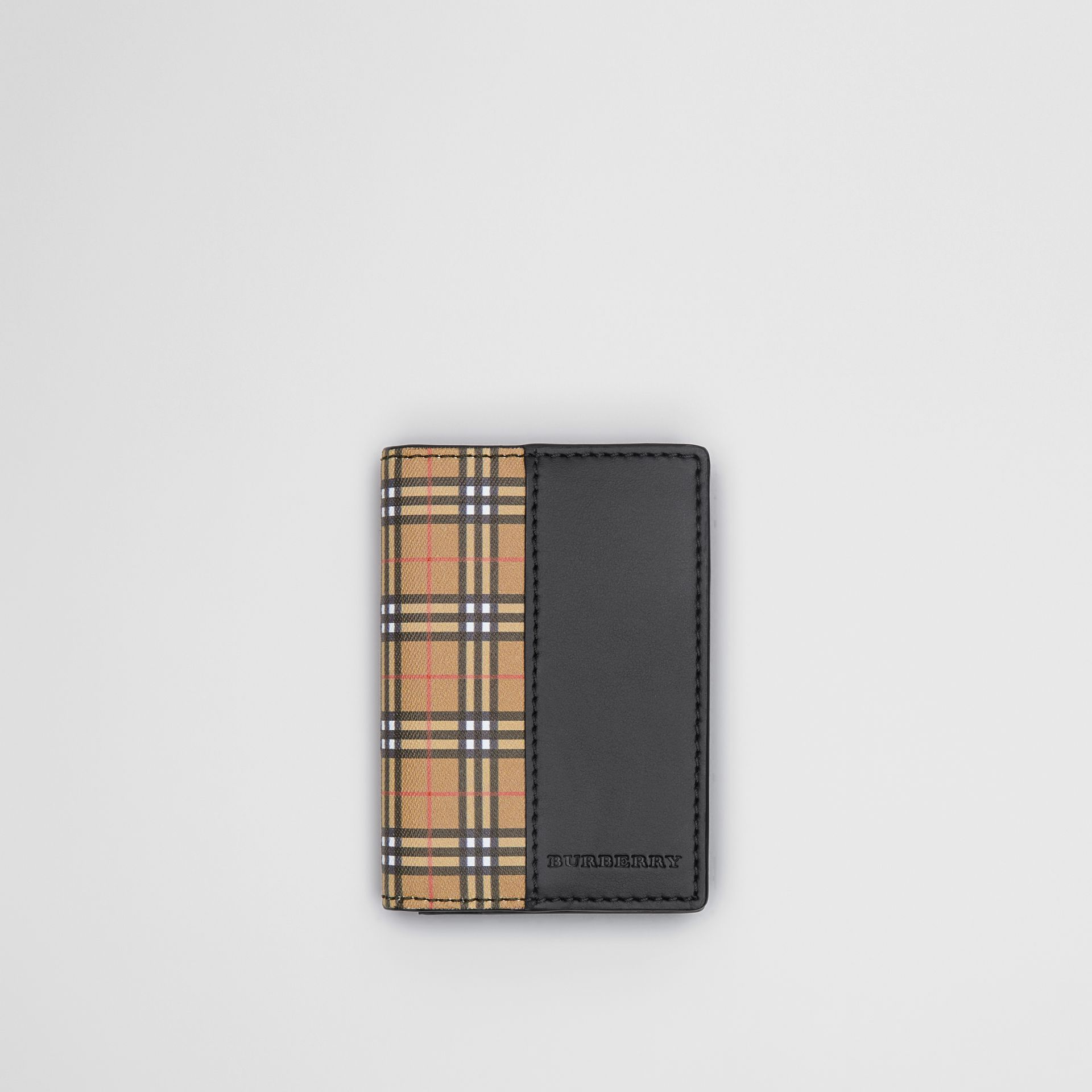 Small Scale Check and Leather Folding Card Case in Antique Yellow/black - Men | Burberry Australia - gallery image 0