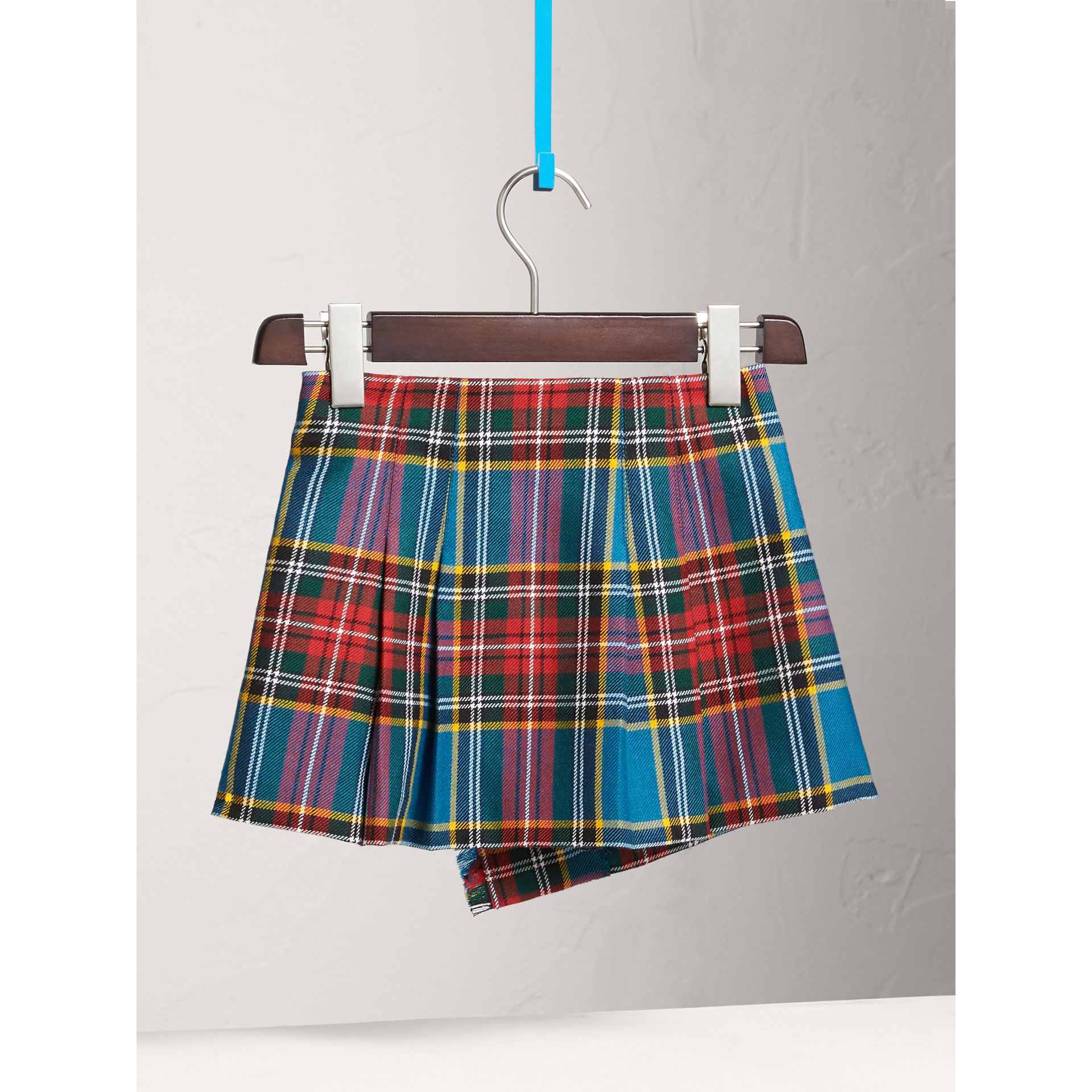 Raw Edge Detail Tartan Wool Kilt in Cyan Blue - Girl | Burberry - gallery image 4