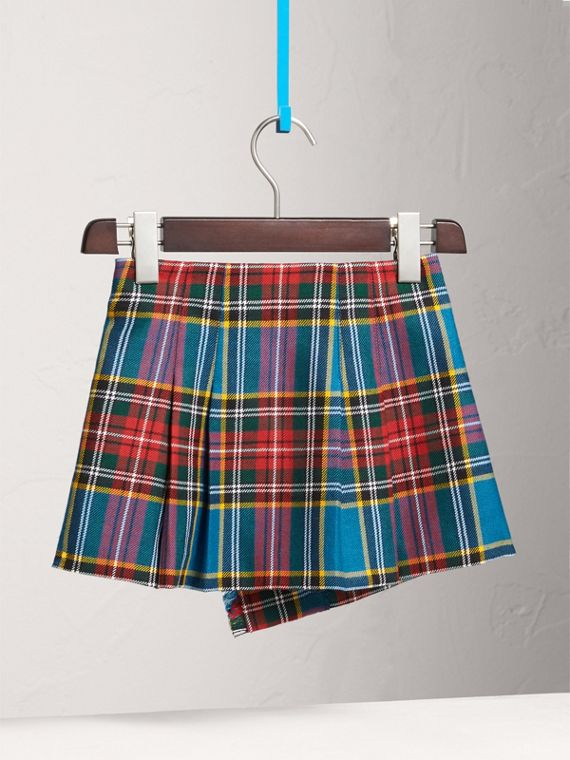 Raw Edge Detail Tartan Wool Kilt in Cyan Blue - Girl | Burberry - cell image 3