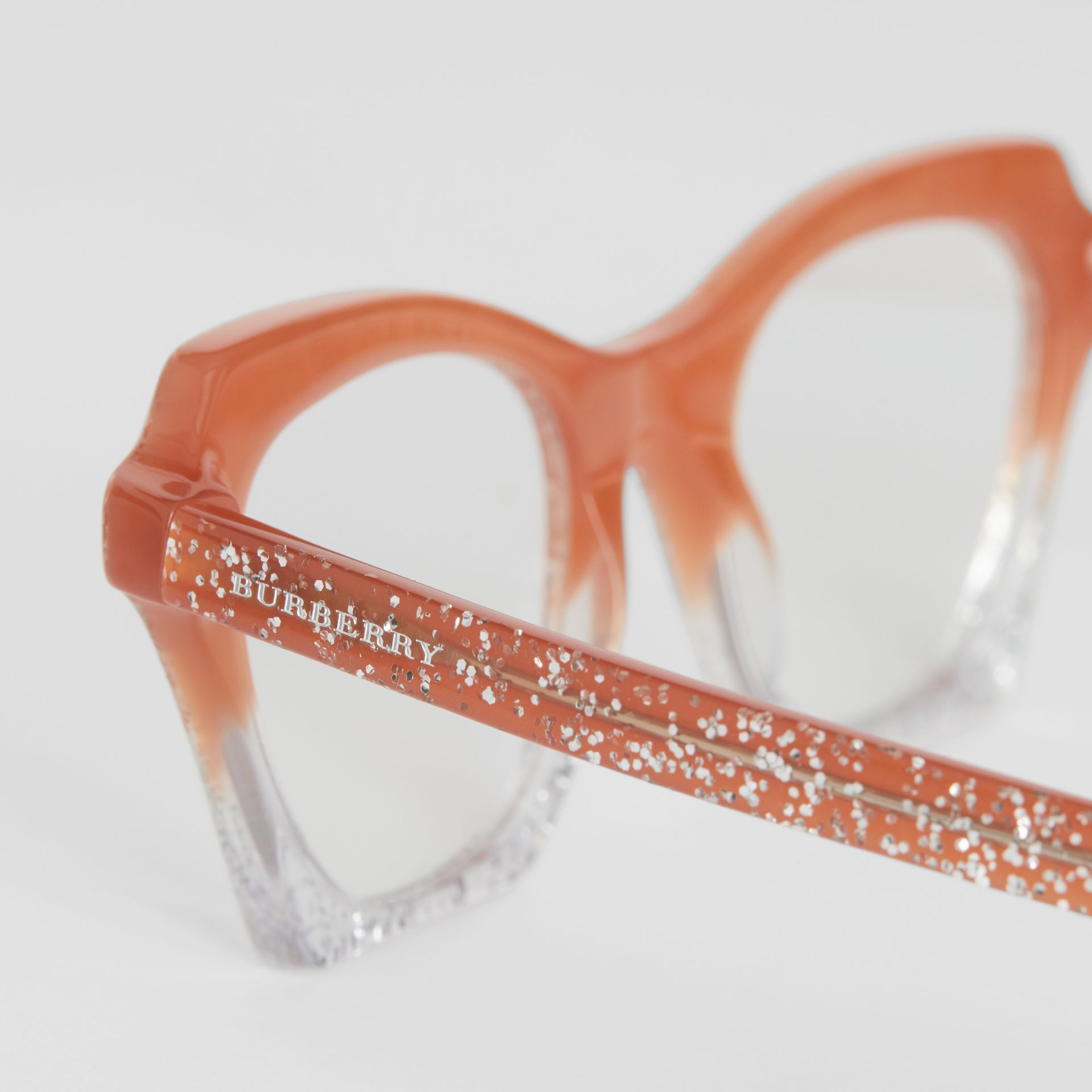 Glitter Detail Butterfly Optical Frames in Peach - Women | Burberry - gallery image 1