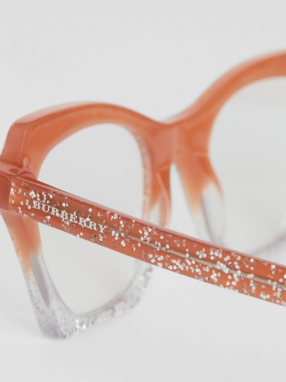 Glitter Detail Butterfly Optical Frames in Peach - Women | Burberry - cell image 1