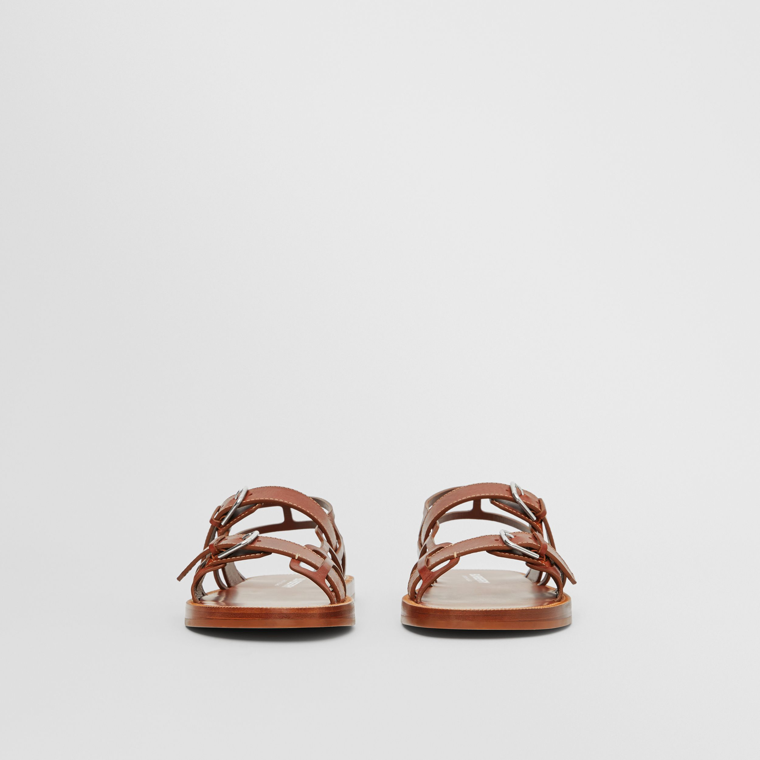 Leather Webb Sandals in Tan - Men | Burberry - 3