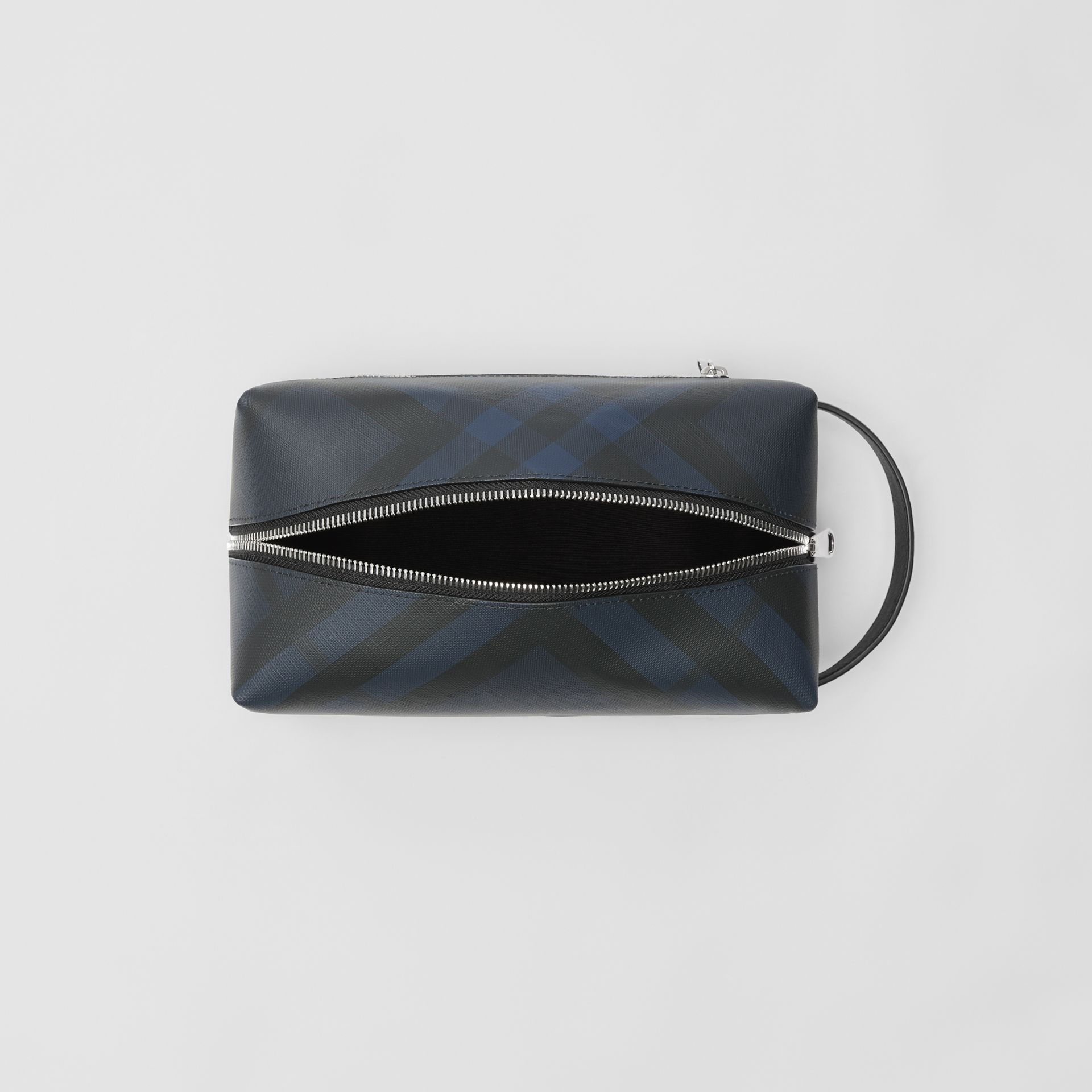 London Check and Leather Pouch in Navy/black - Men | Burberry Canada - gallery image 5