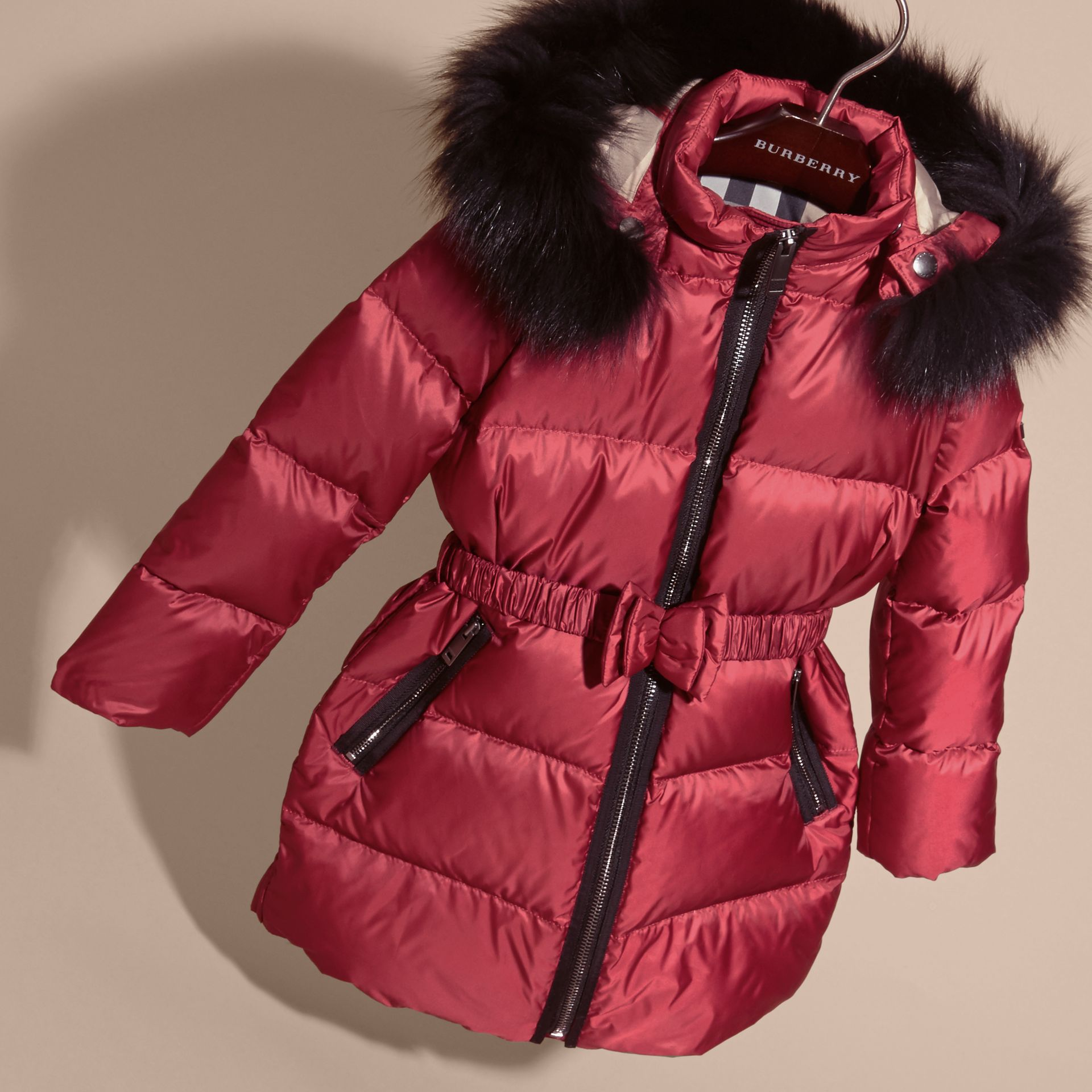 Dark plum pink Down-filled Coat with Detachable Fox Fur-trimmed Hood Dark Plum Pink - gallery image 3