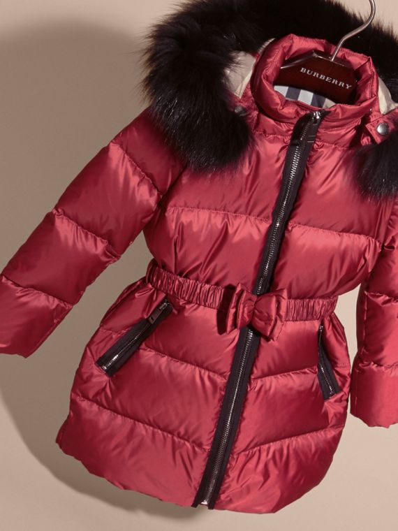 Dark plum pink Down-filled Coat with Detachable Fox Fur-trimmed Hood Dark Plum Pink - cell image 2