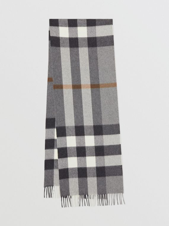 Check Cashmere Scarf in Grey