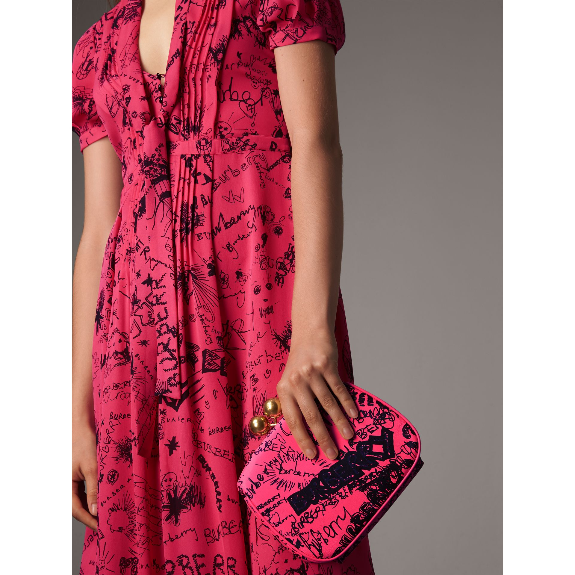 Small Doodle Print Leather Metal Frame Clutch Bag in Neon Pink - Women | Burberry - gallery image 6