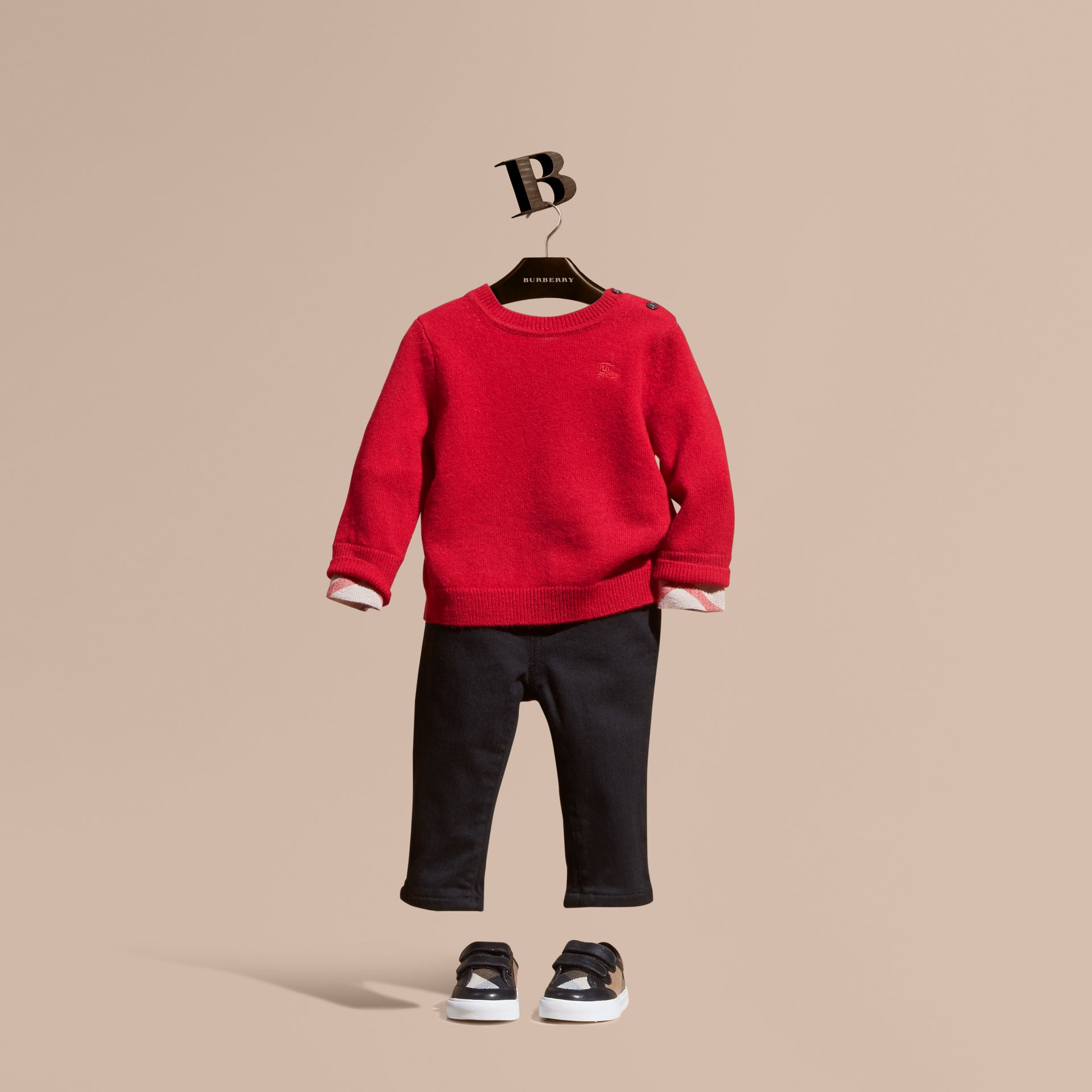 Parade red Check Detail Cashmere Sweater Parade Red - gallery image 1