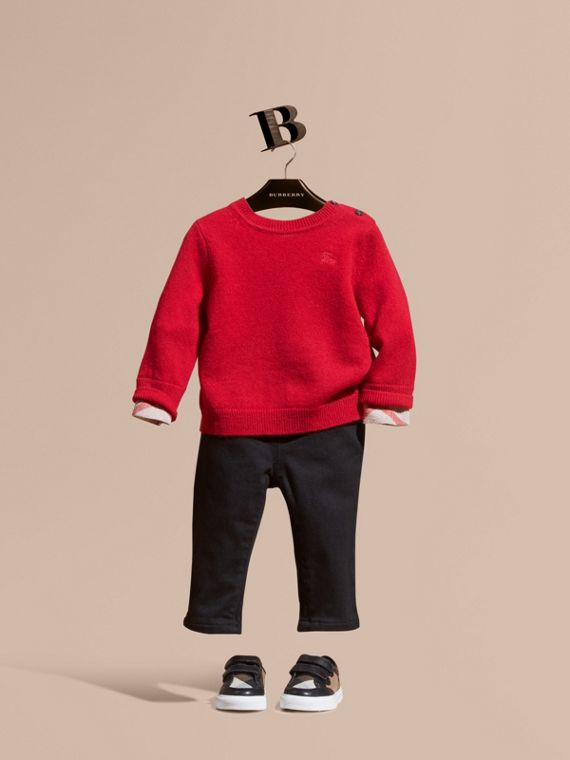 Check Detail Cashmere Sweater Parade Red