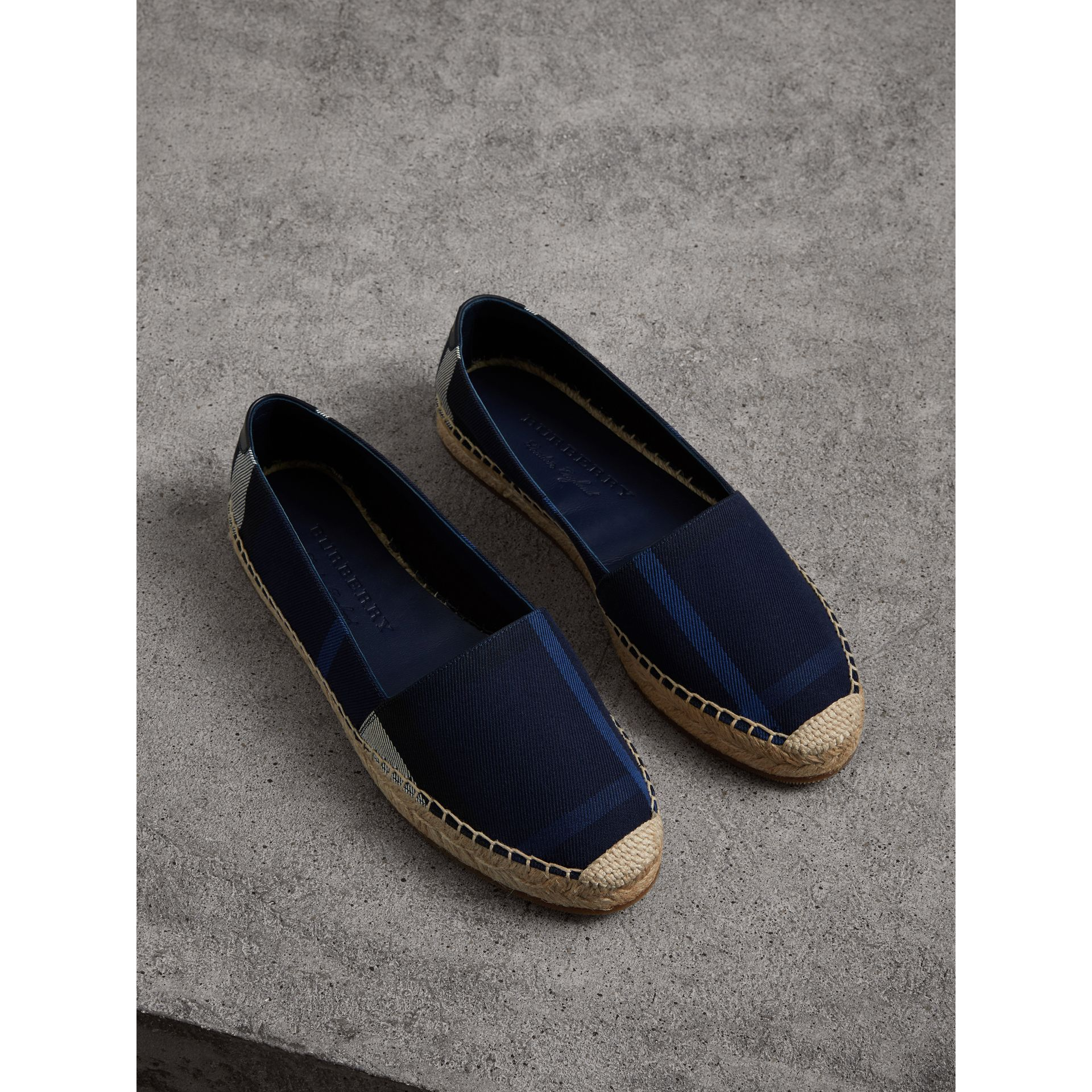 Check Cotton Espadrilles in Indigo Blue - Women | Burberry - gallery image 1
