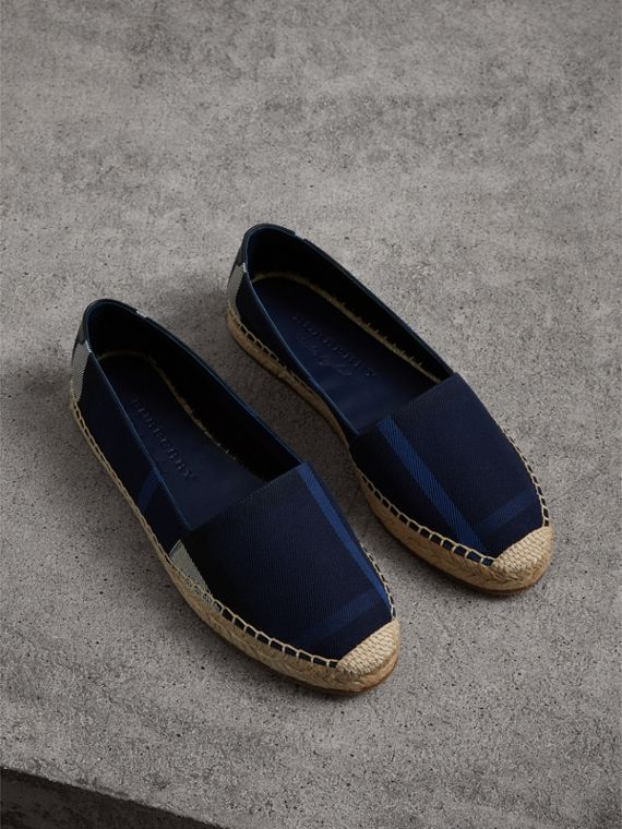 Check Cotton Espadrilles in Indigo Blue
