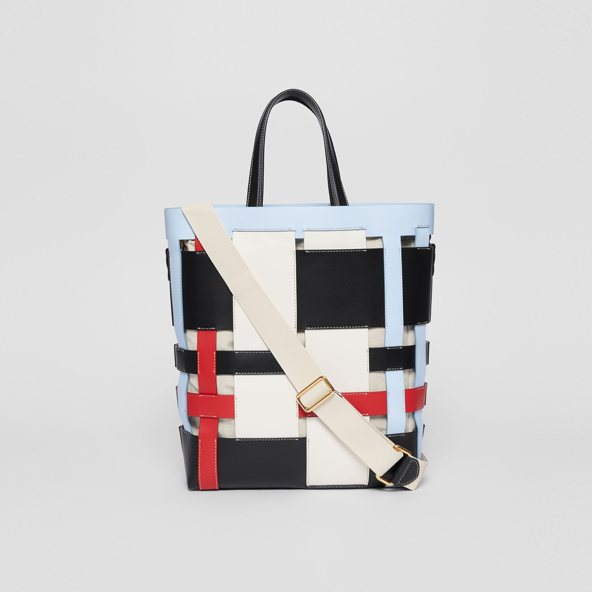 Medium Colour Block Leather Foster Tote in Blue - Women | Burberry - gallery image 5