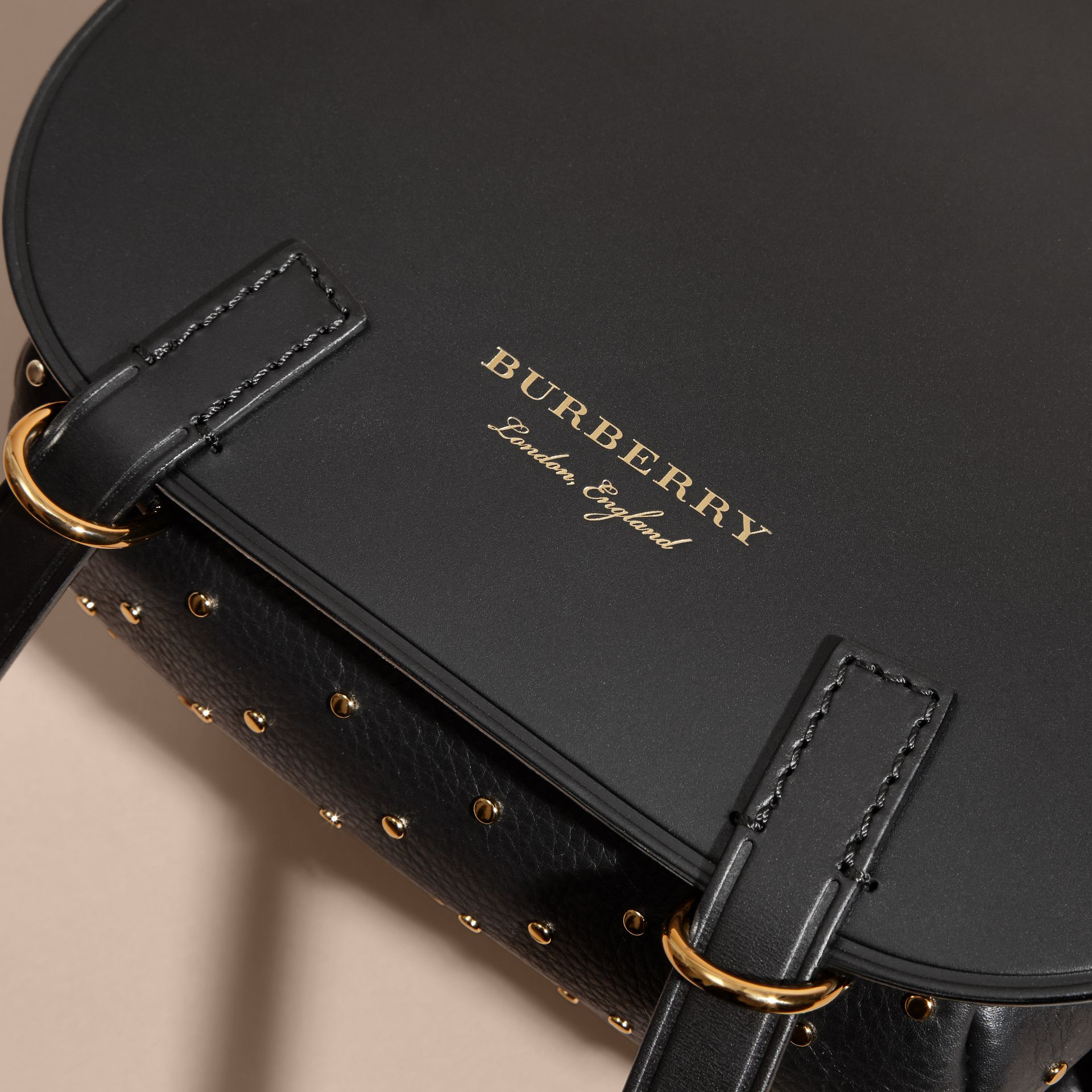 The Bridle Bag in Leather and Rivets in Black - gallery image 2