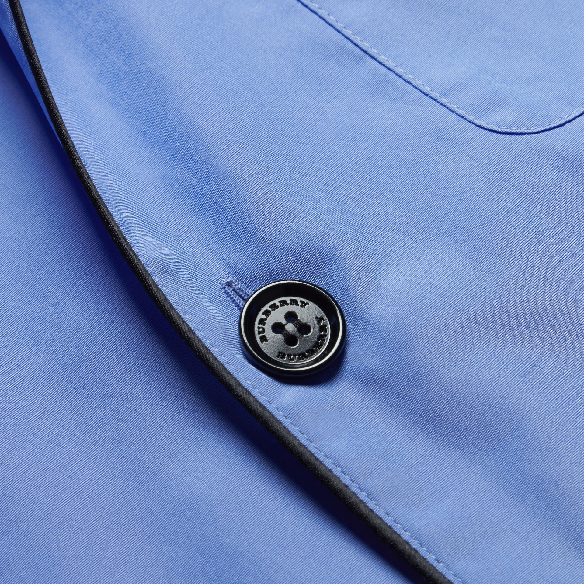 Mid blue Cotton Poplin Pyjama-style Shirt - gallery image 2