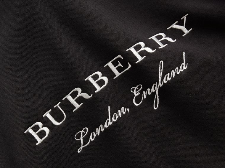 Embroidered Hooded Sweatshirt in Black - Men | Burberry - cell image 1