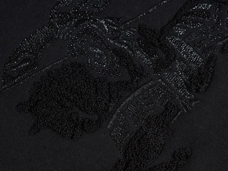Black Equestrian Knight Detail Cotton Sweatshirt - cell image 1
