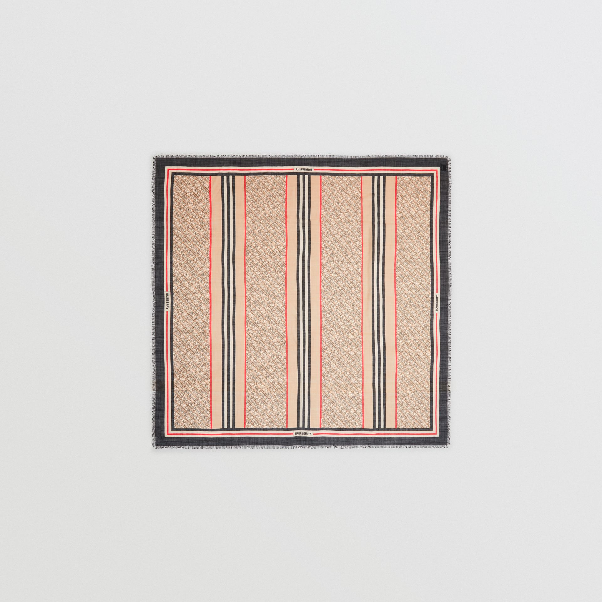 Icon Stripe Monogram Print Wool Silk Square Large Scarf in Archive Beige | Burberry - gallery image 0
