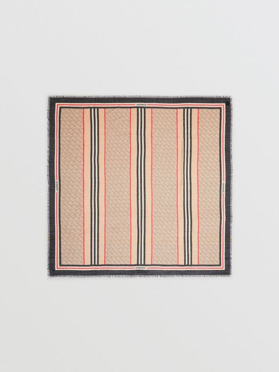 Icon Stripe Monogram Print Wool Silk Square Large Scarf in Archive Beige