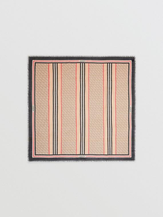 Lenço grande de seda e lã com estampa de monograma e listras icônicas (Bege Clássico)