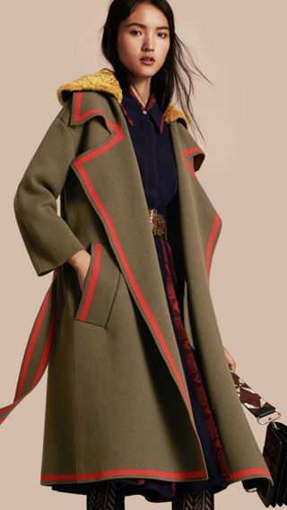 Stretch Wool Cashmere Cardigan Coat with Shearling Collar