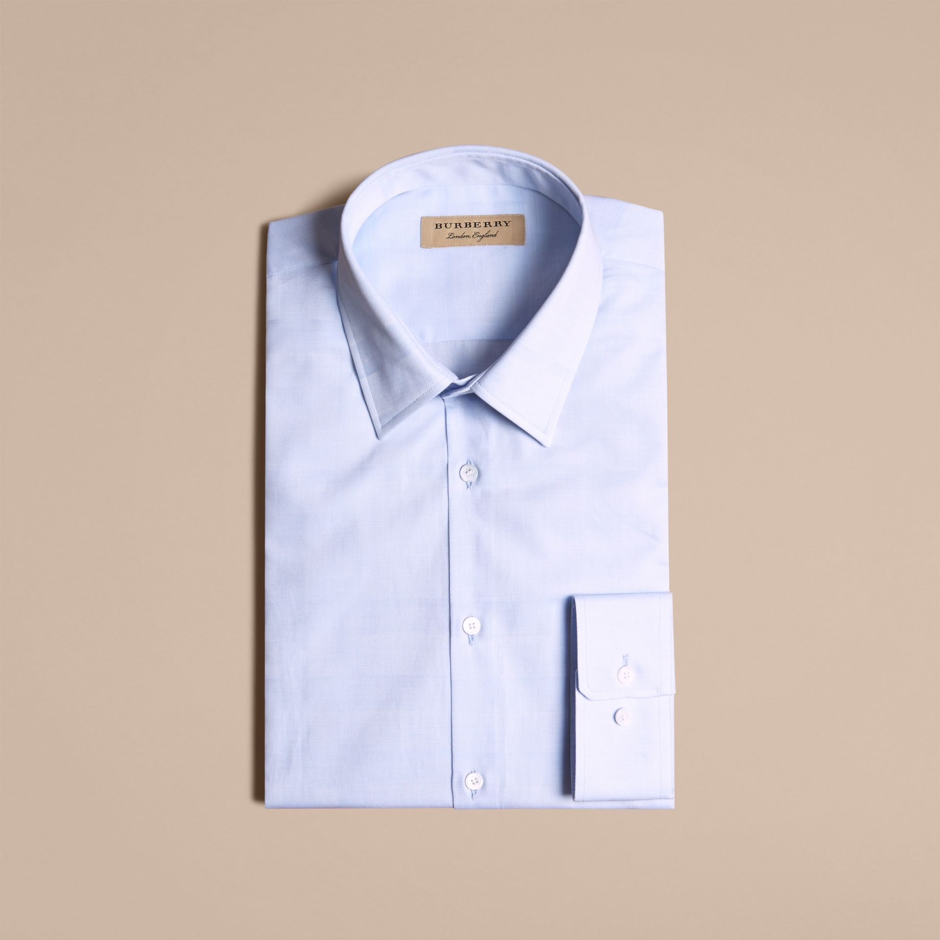Modern Fit Check Cotton Poplin Shirt Pale Blue - gallery image 4