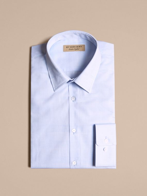Modern Fit Check Cotton Poplin Shirt Pale Blue