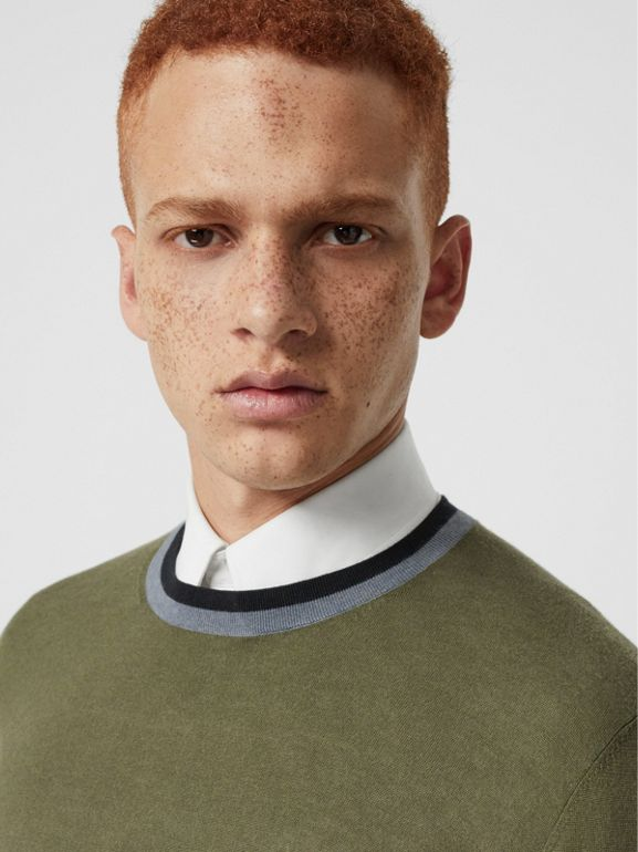 Embroidered Crest Cotton Silk Sweater in Slate Green - Men | Burberry Australia - cell image 1