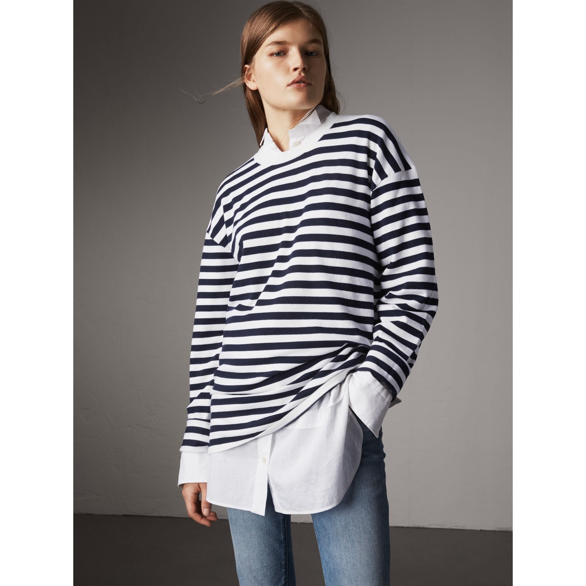 Breton Stripe Merino Wool Silk Blend Top in Navy - Women | Burberry - gallery image 5