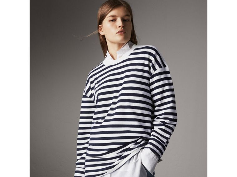 Breton Stripe Merino Wool Silk Blend Top in Navy - Women | Burberry - cell image 4