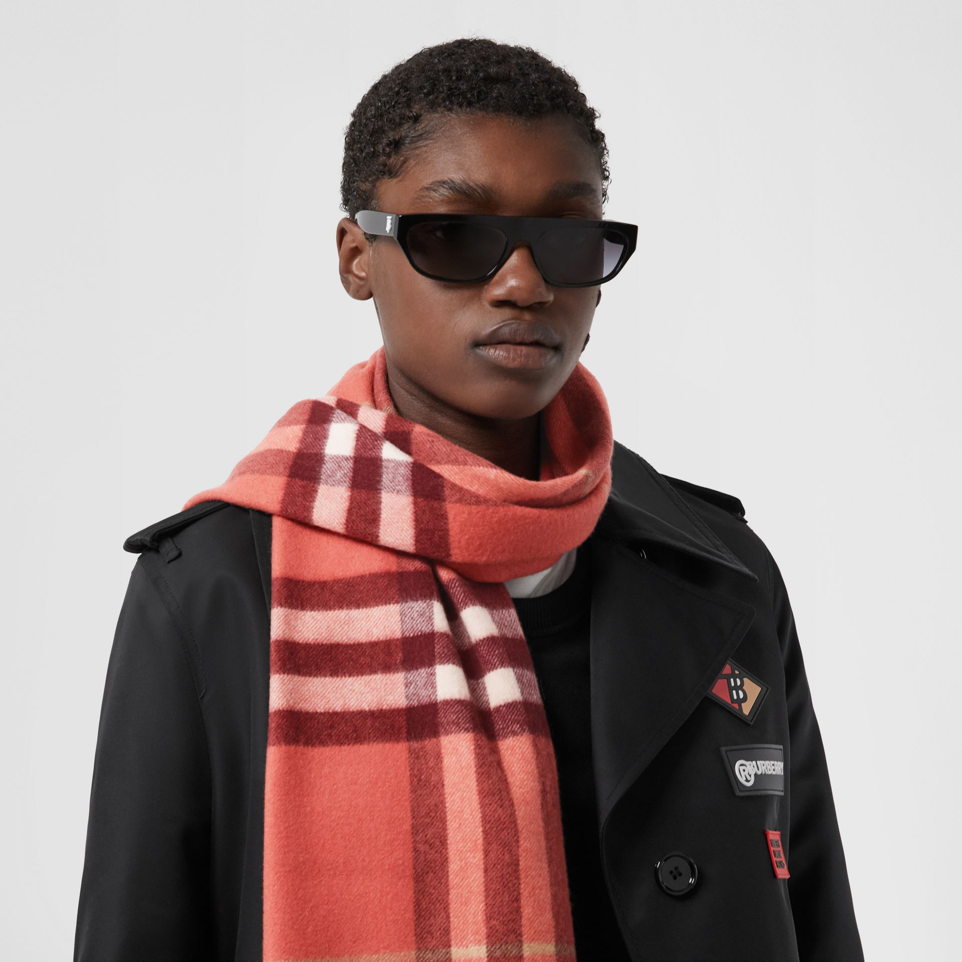 Check Cashmere Scarf in Clay Sienna | Burberry - gallery image 5