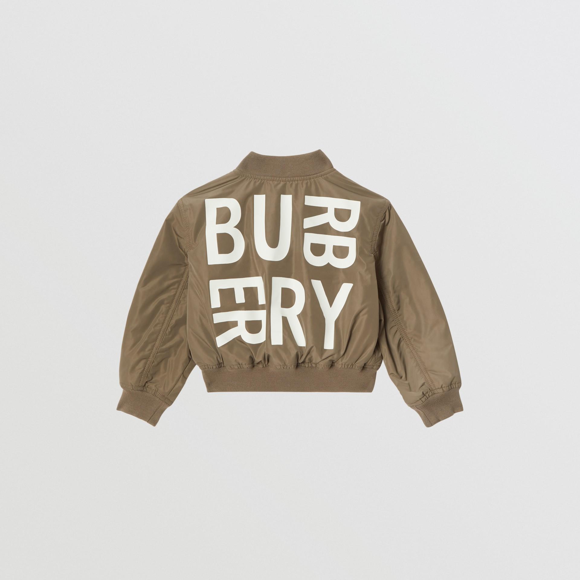 Logo Print Shape-memory Taffeta Bomber Jacket in Khaki | Burberry - gallery image 3