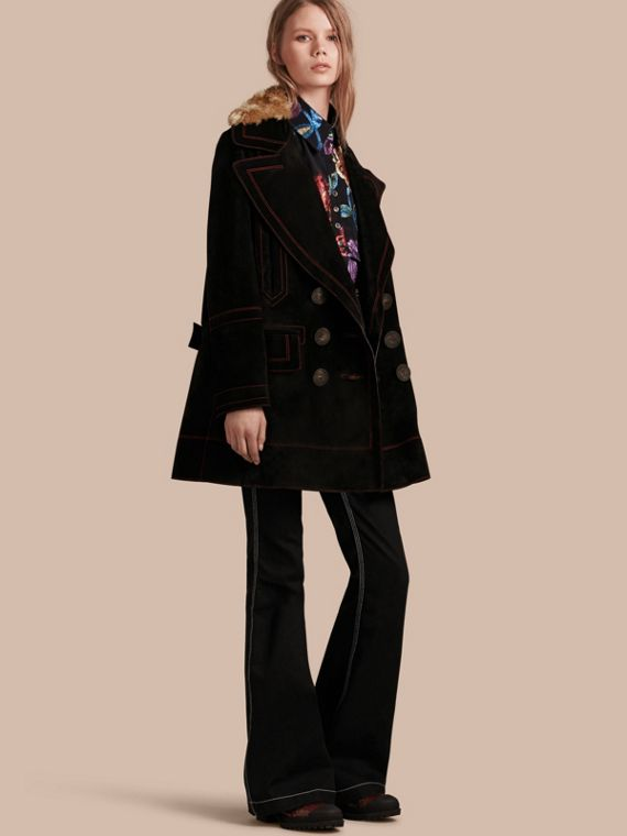 Suede Pea Coat with Shearling Topcollar