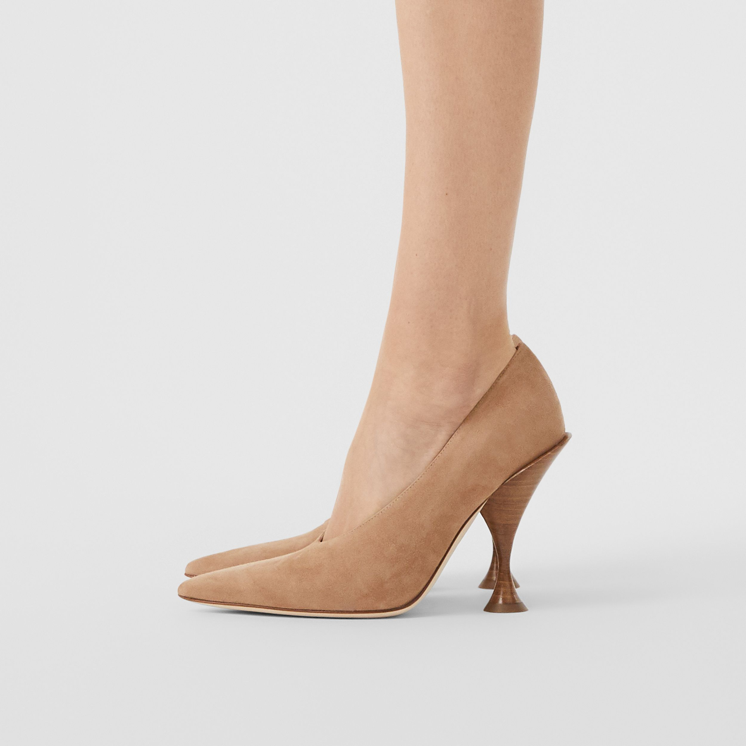 Suede Point-toe Pumps in Warm Camel - Women | Burberry - 3