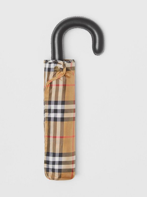 Vintage Check Folding Umbrella in Antique Yellow/black