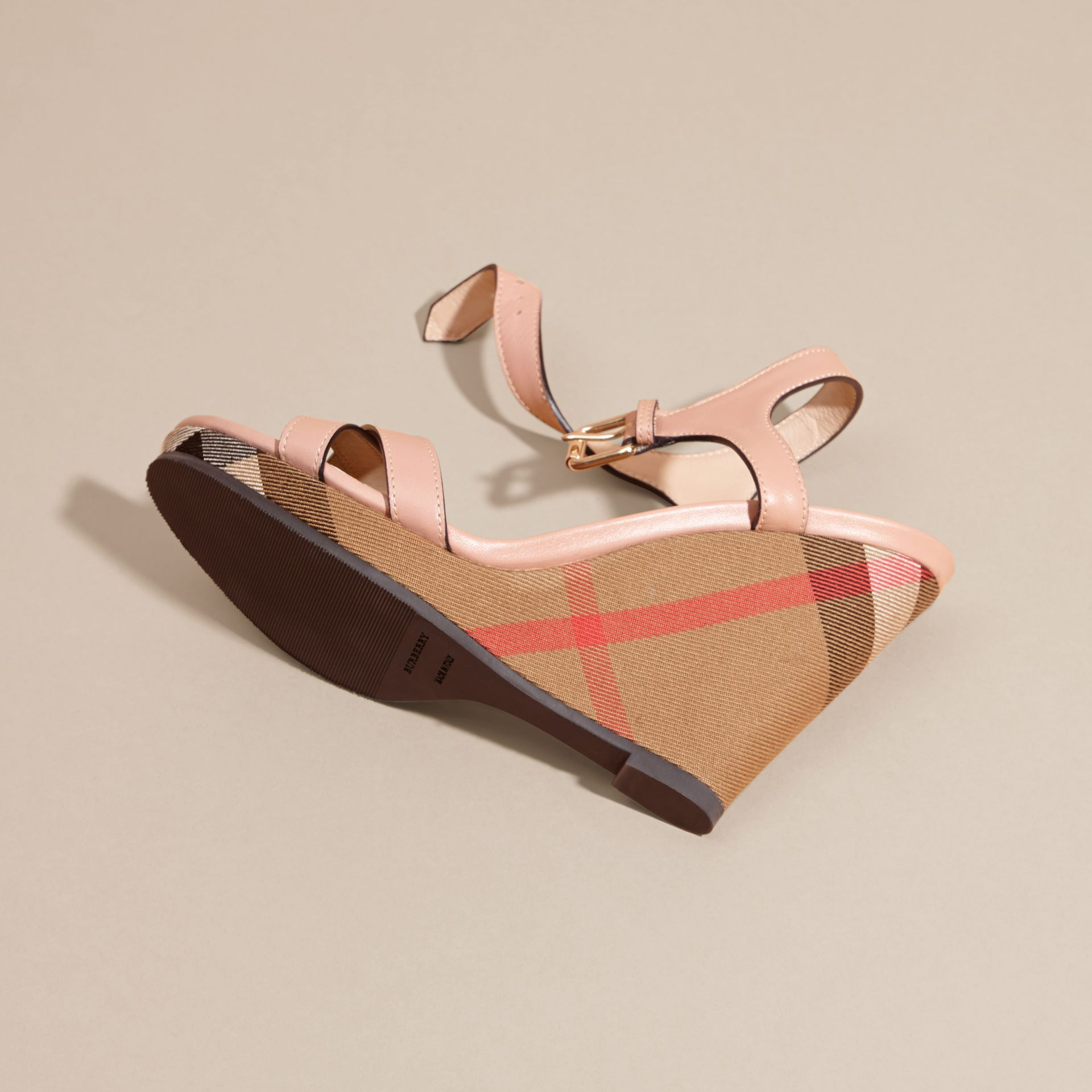 Nude blush House Check Detail Leather Wedge Sandals - gallery image 2